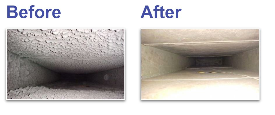 before and after picture of ducts that were cleaned by Crossfield Heating company