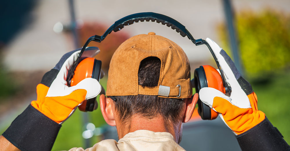man wearing headphones for noise protection